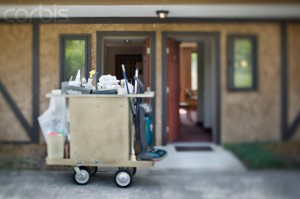 Housekeeping Cart Outside Motel Rooms